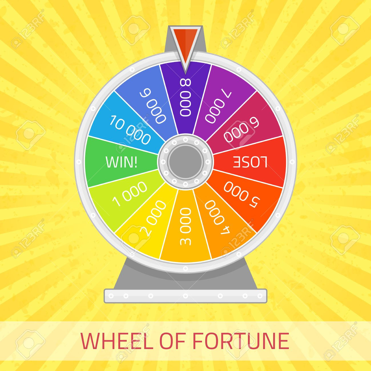 wheel of fortune illustration. color lucky wheel template. winner, Powerpoint templates