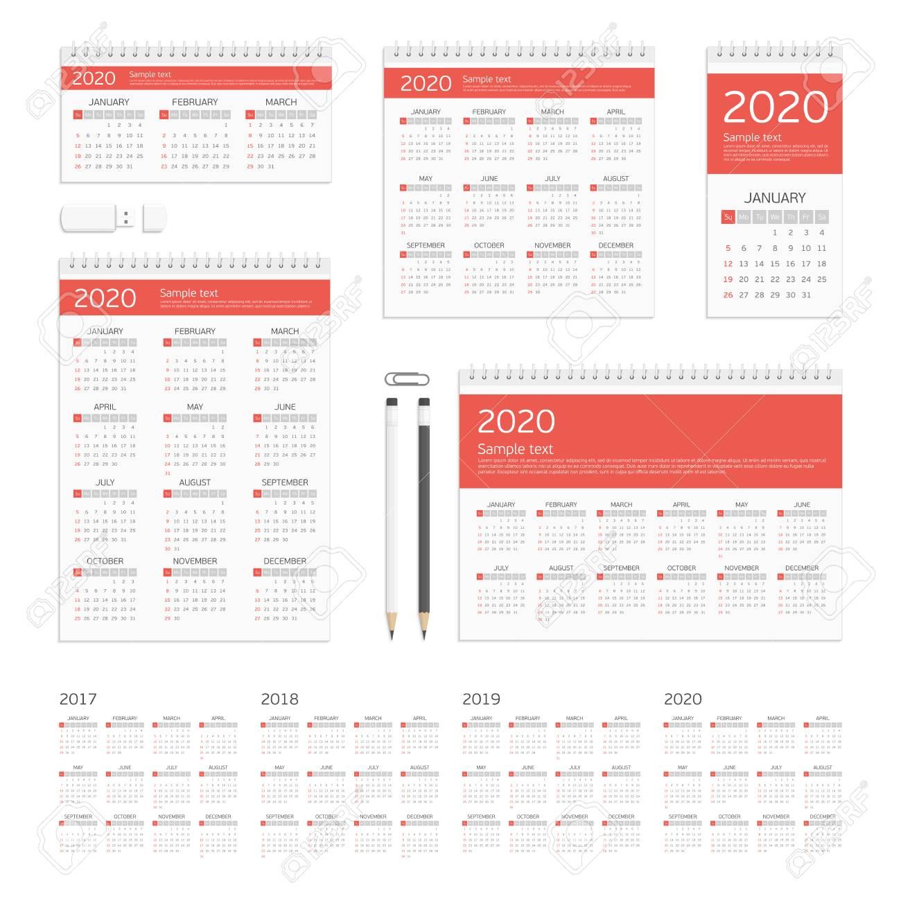 Conjunto De 2017, 2018, 2019 Y 2020 Calendario Plantilla Folleto ...