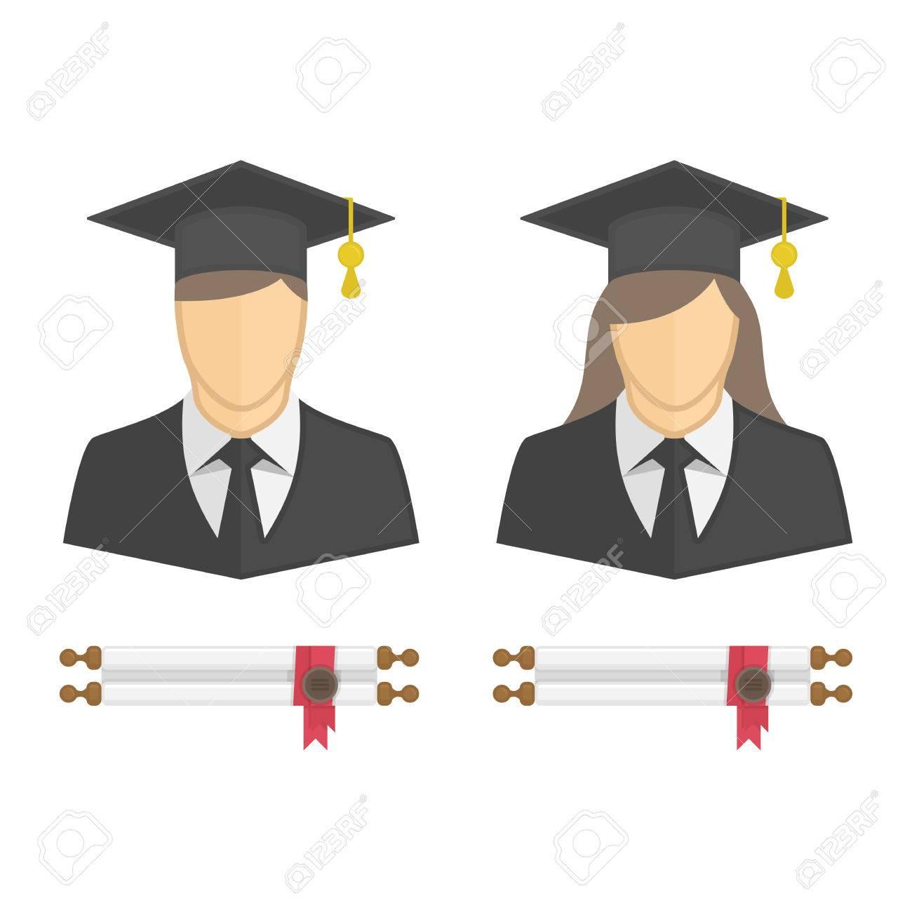 Los Graduados En Bata Y Gorro De Graduación Icono. Ilustración De La Mujer  Y De Los Jóvenes Estudiantes Del Carácter Del Hombre Con El Diploma  Enrollado De ... 939193855ff