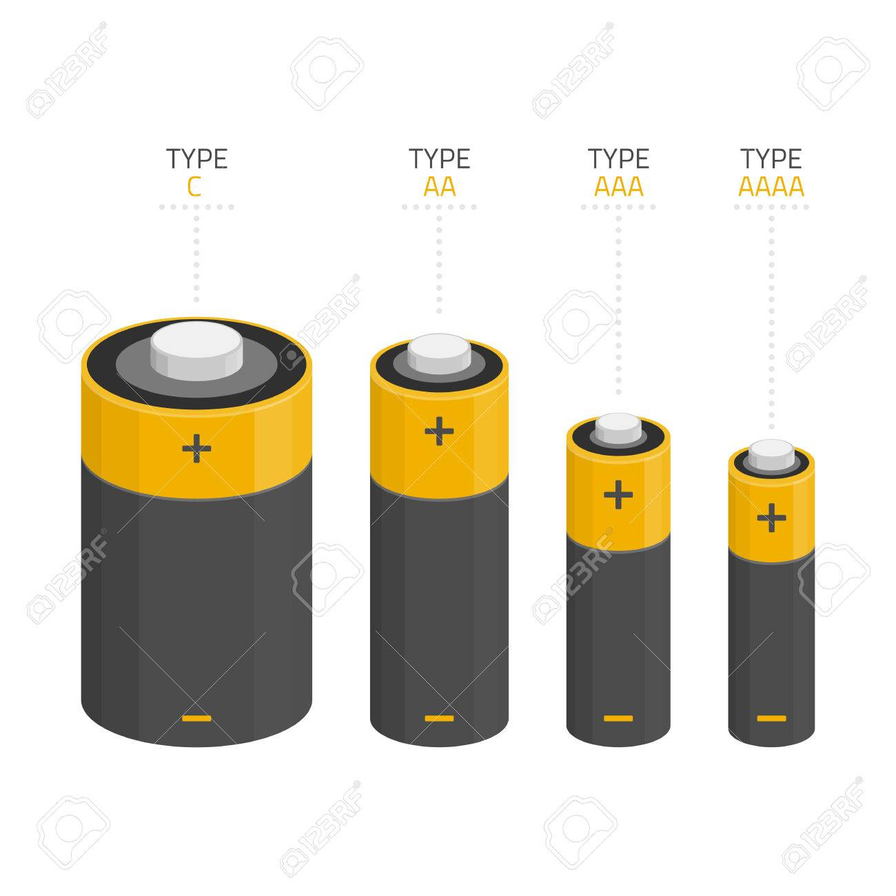 vector icons set of different kinds of sizes of batteries c