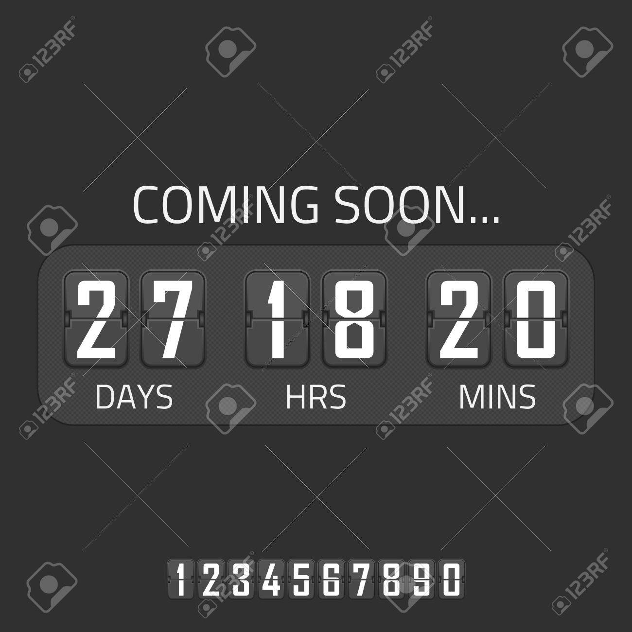Flip Coming Soon Illustration, Countdown Timer Template. Opening ...