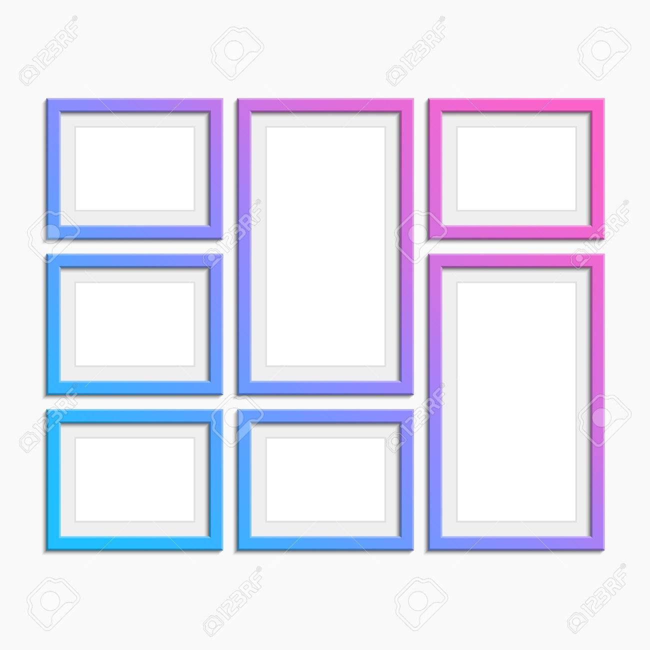 Set Of Modern Picture Frames With Unusual Coloring. Photo Art ...