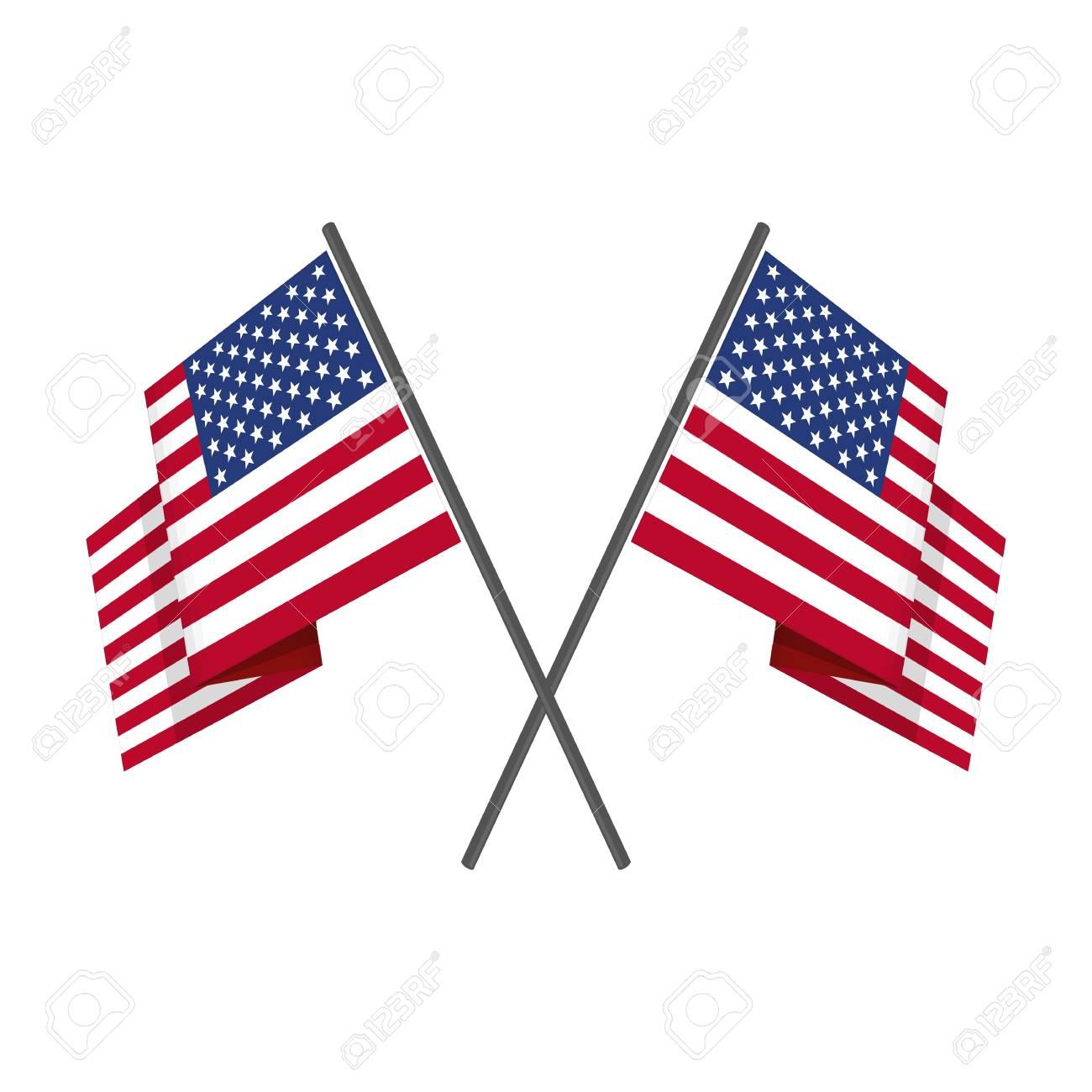 two crossed american flag vector royalty free cliparts vectors rh 123rf com american flag vector art american flag vector file