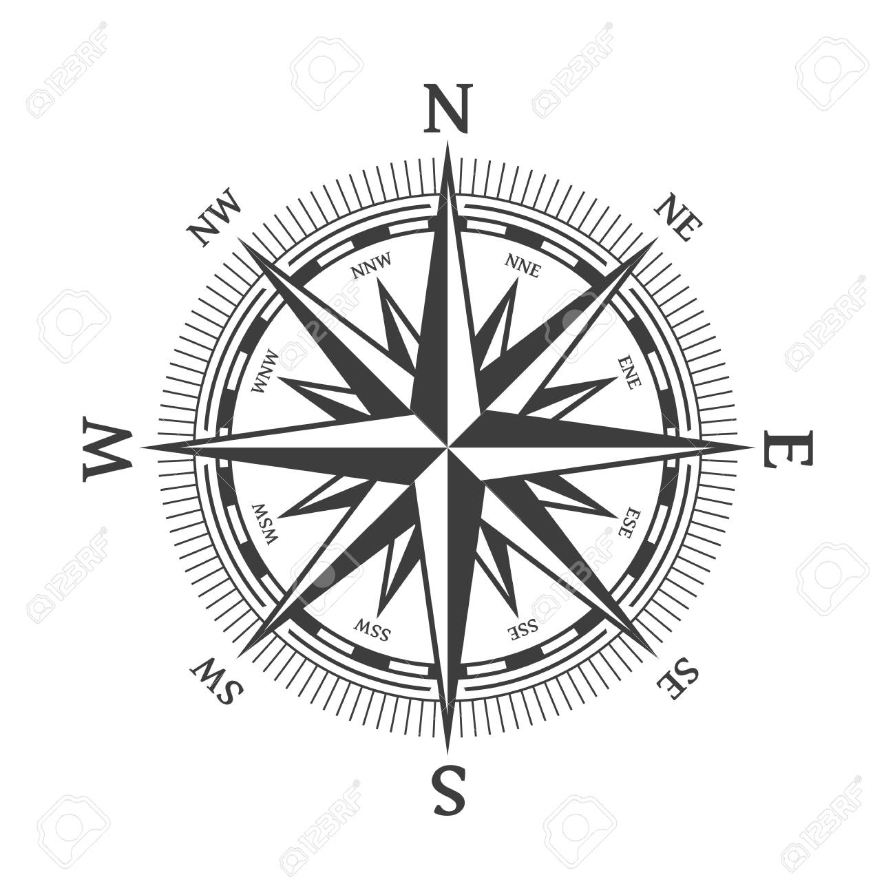 Wind Rose Vector Illustration Nautical Compass Icon Isolated