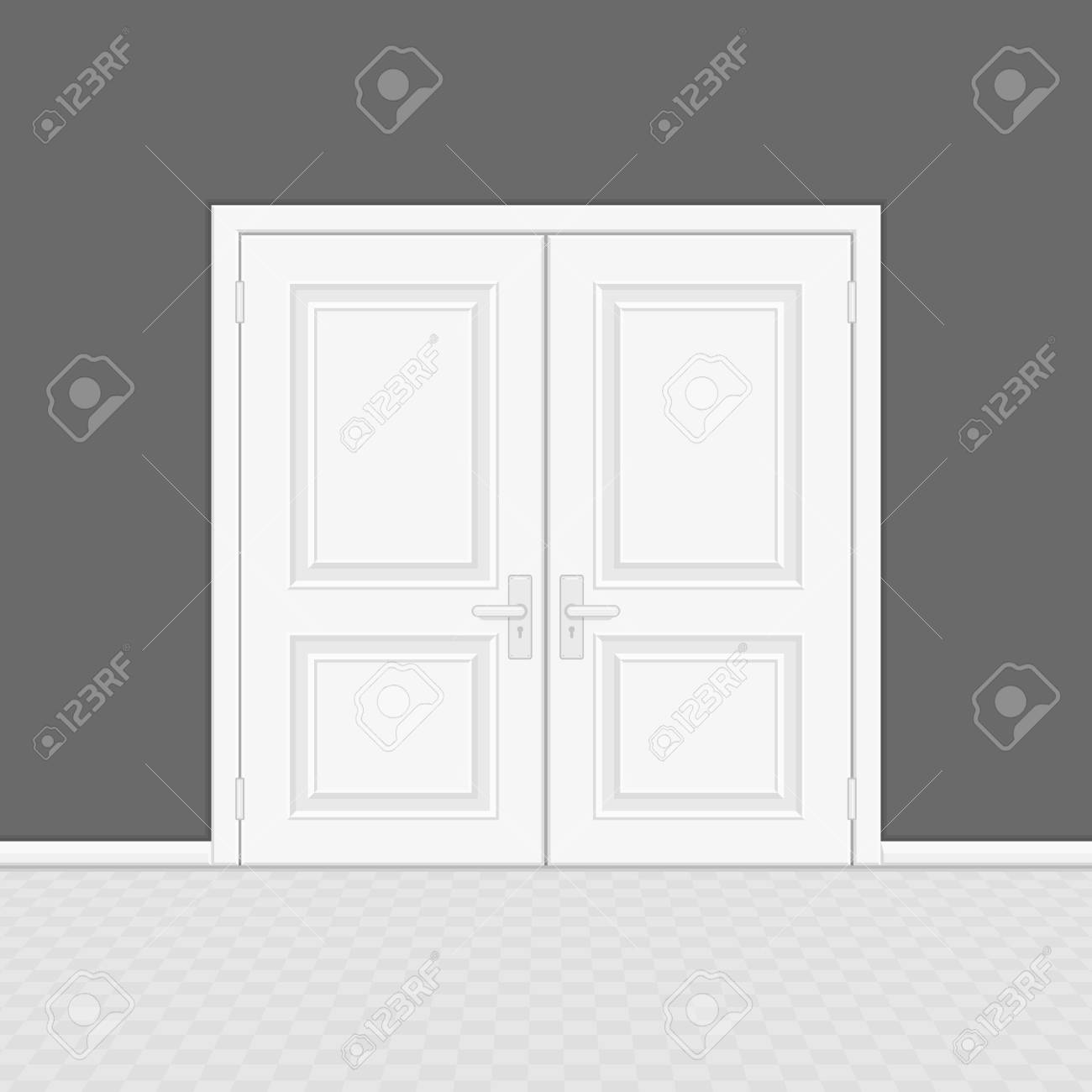 Closed Entrance Door With Frame Realistic Style White Interior