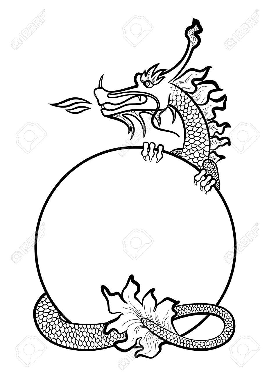 illustration of a hand drawing chinese dragon stock vector 39105964