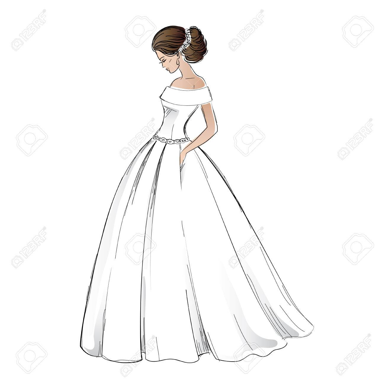 Sketch Of Young Bride Model In Wedding Dress With Pretty Hair ...