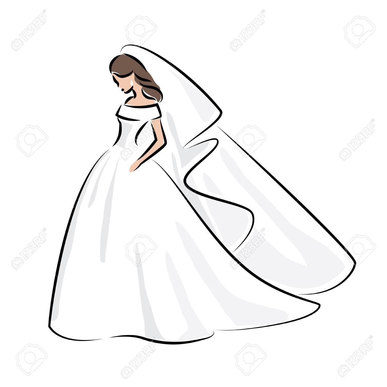 Abstract Outline Color Illustration Of A Young Elegant Bride In Wedding Dress With Veil Over Her: Abstract Art Wedding Dress At Websimilar.org
