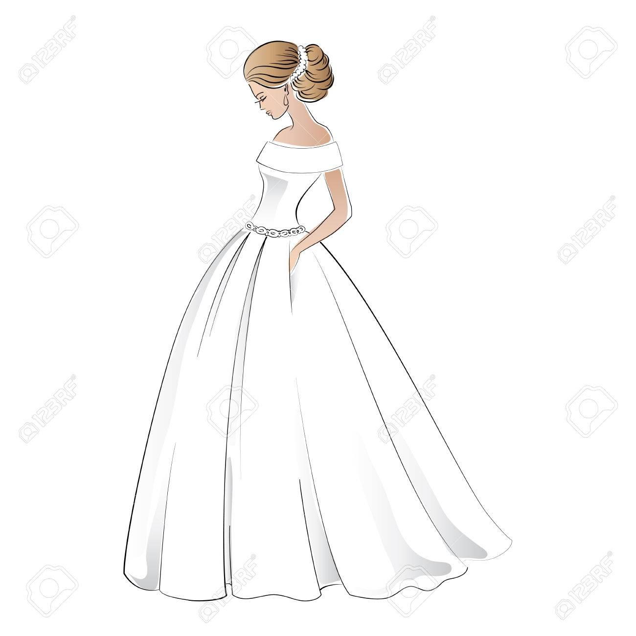 Braut Im Brautkleid Mit Ziemlich Illustration Frisur Isoliert Auf ...