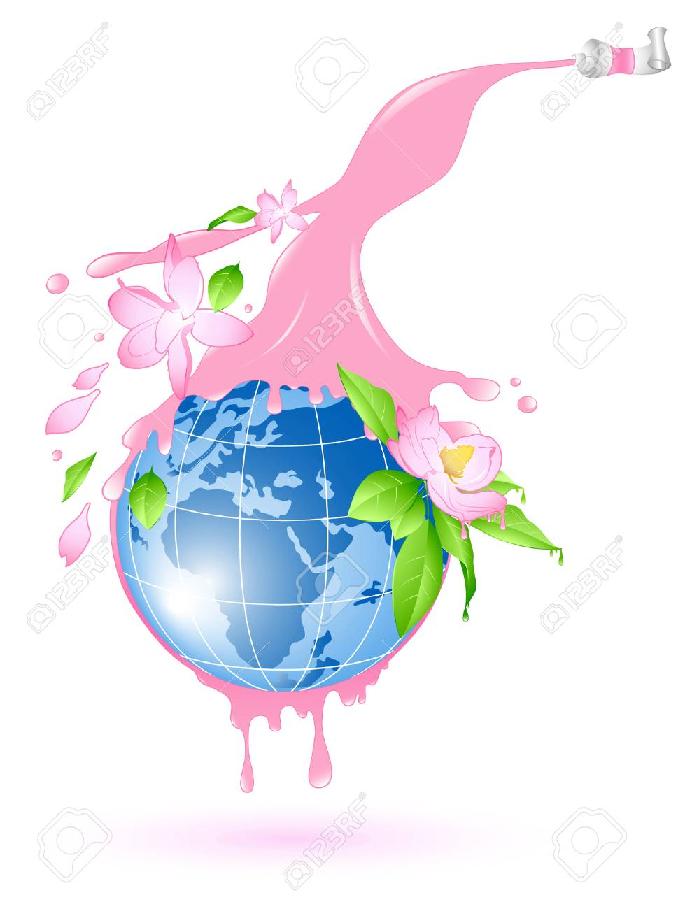 flowering planet with splashes of pink paint and flowers Stock Vector - 5602332