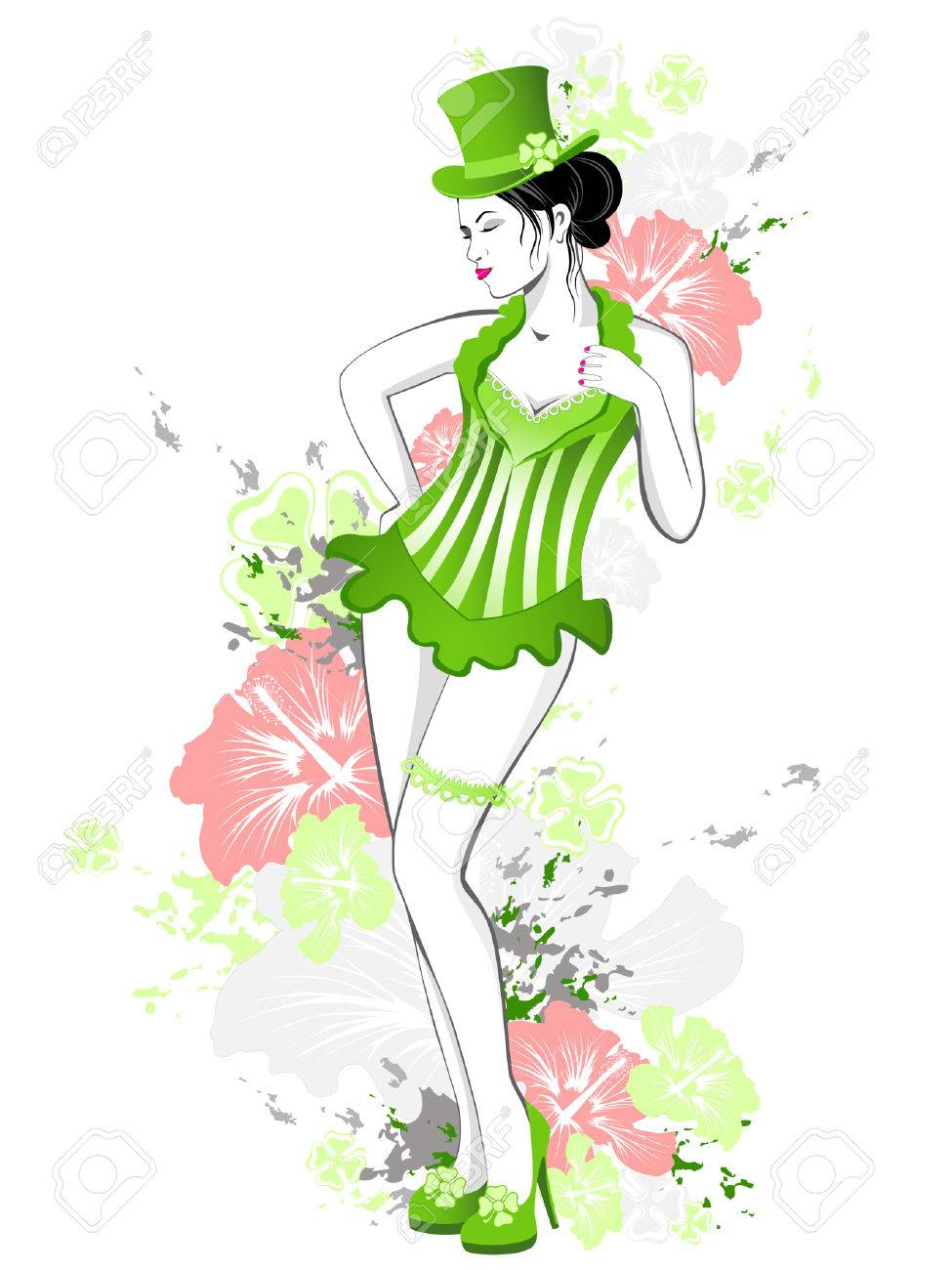 beautiful girl in green dress with flowers and splashes of paint for St. Patrick's Day Stock Vector - 6486978
