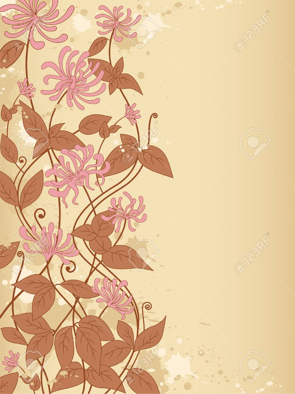 decorative background with flowers and blots Stock Vector - 6982527
