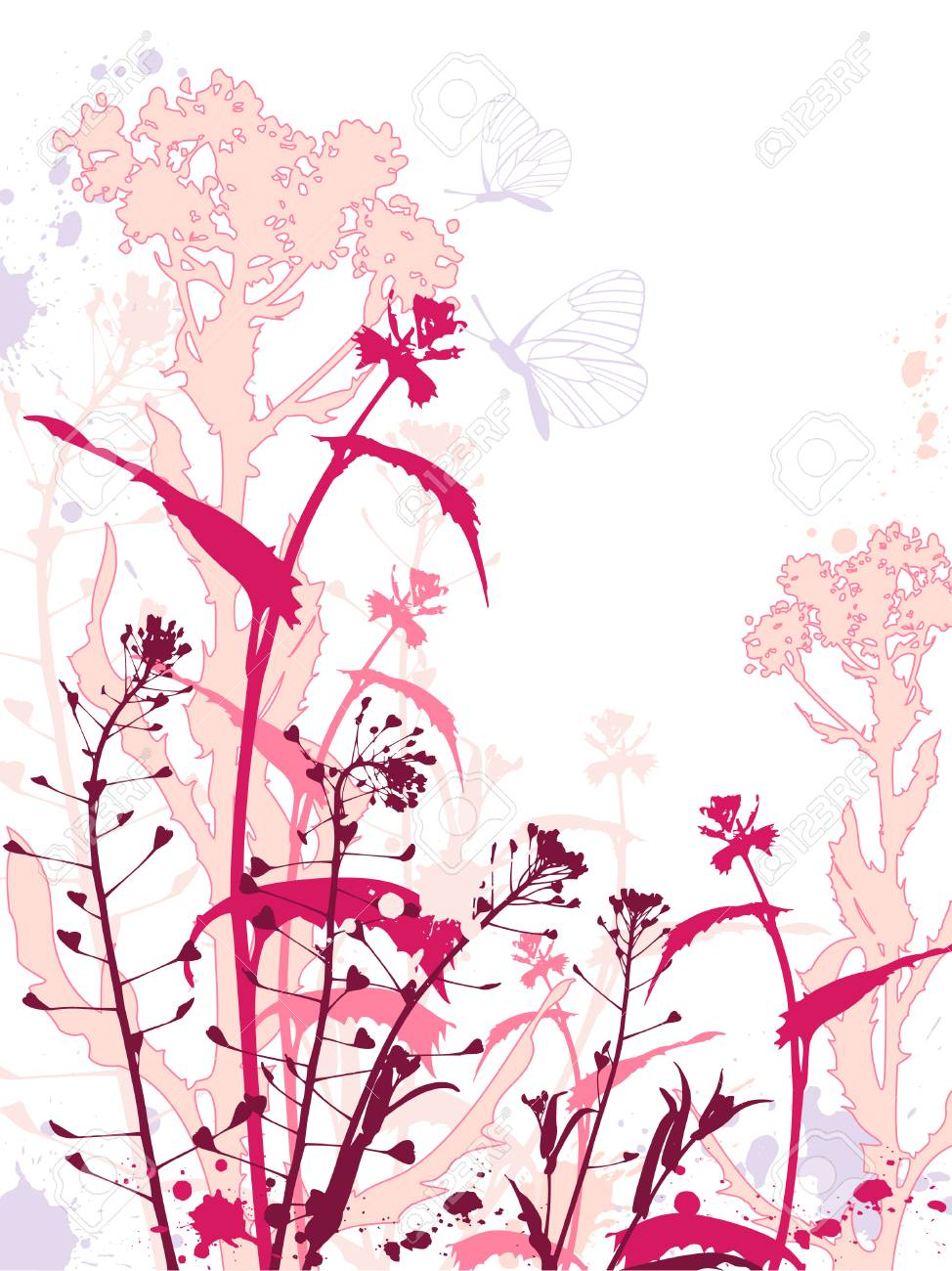 Background with red flowers,butterflies and grunge effect Stock Vector - 7042001