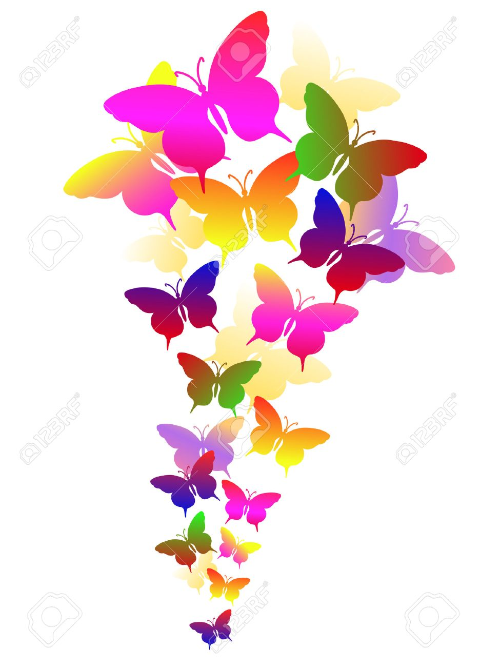 colored abstract background with butterflies - 7075616