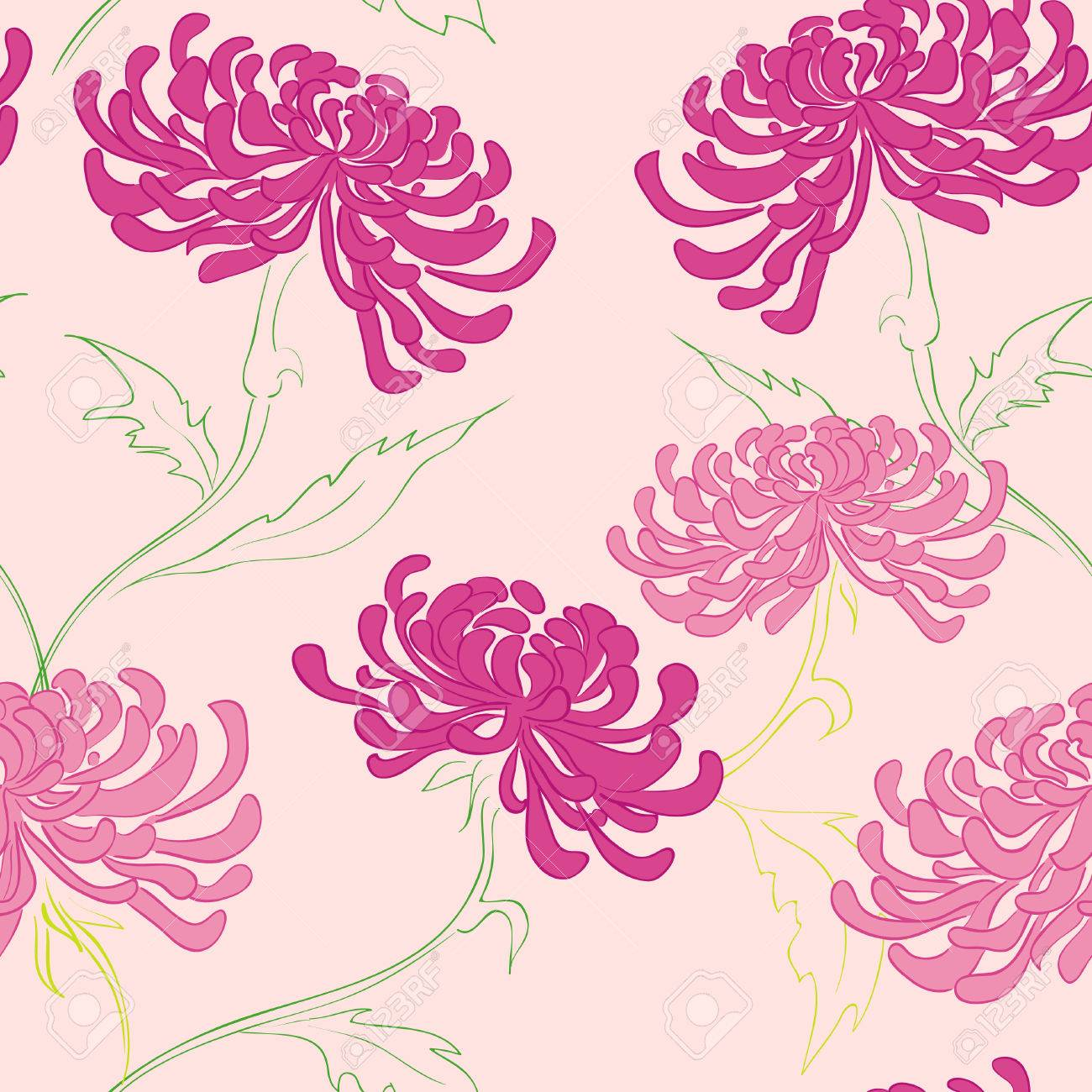 Pink floral seamless vector background floral hrysanthemum seamless - Hand Drawing Seamless Pattern With Flowers Stock Vector 8069298