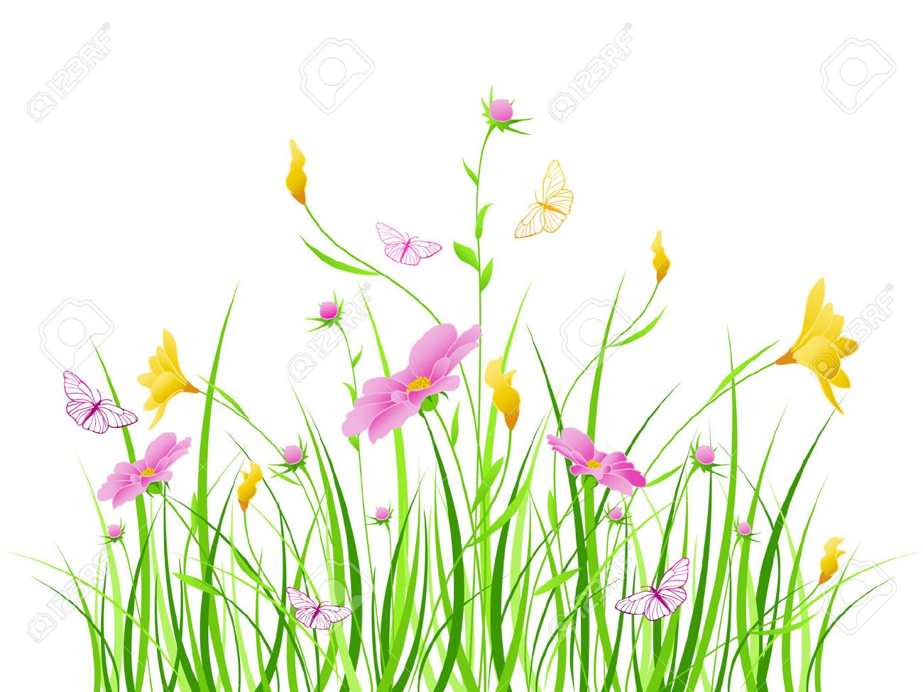 Floral Background With Pink And Yellow Flowers Royalty Free Cliparts