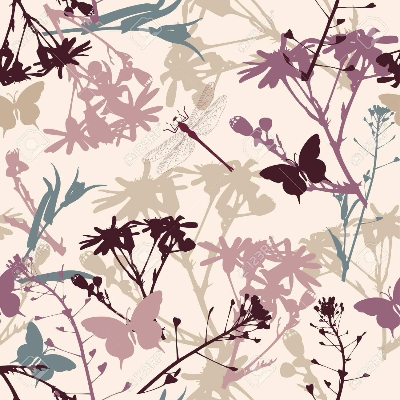 floral seamless pattern with butterflies and dragonfly Stock Vector - 8560475