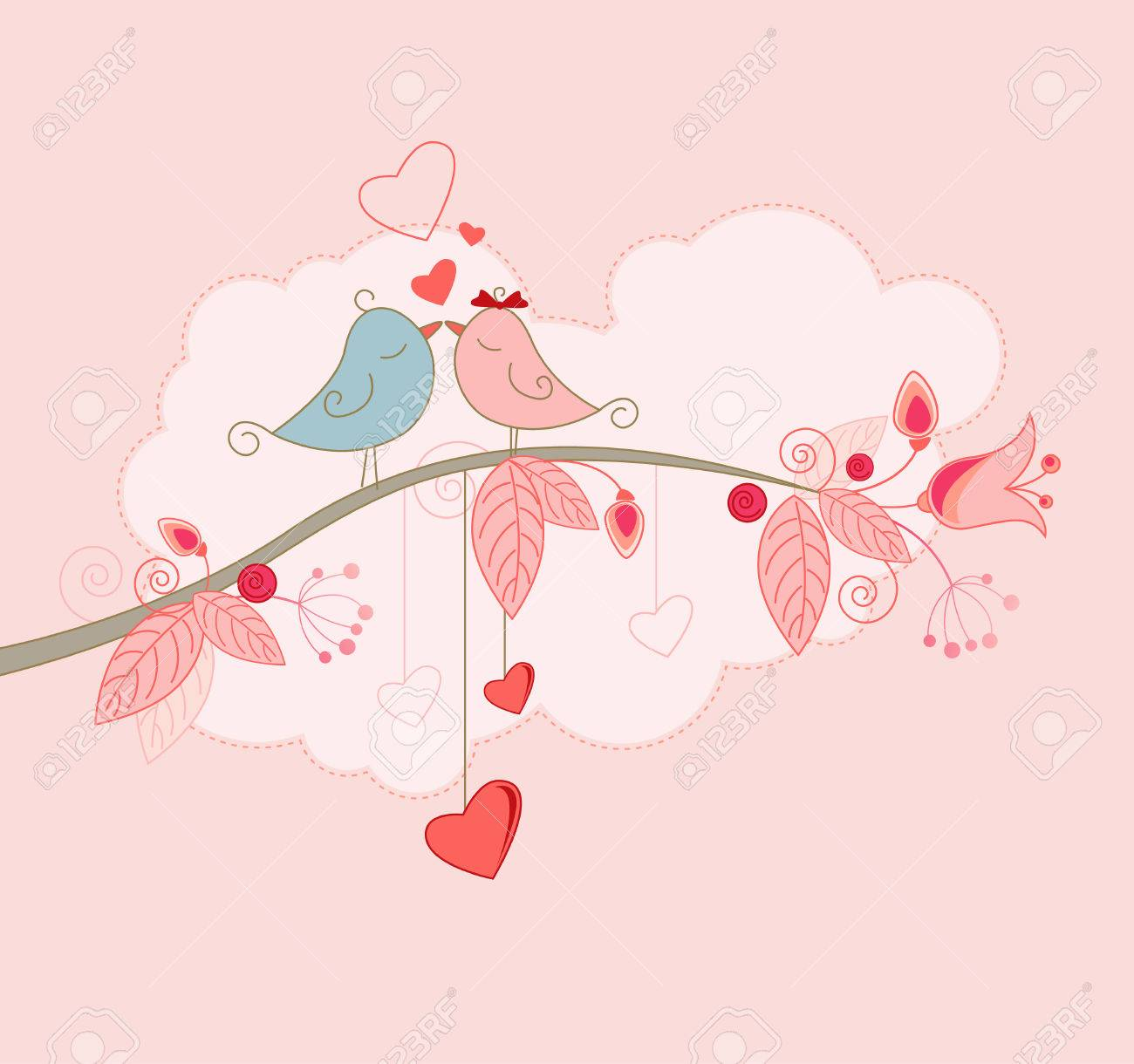 Valentines Day Greeting Card With Kissing Birds Royalty Free – Bird Valentine Card