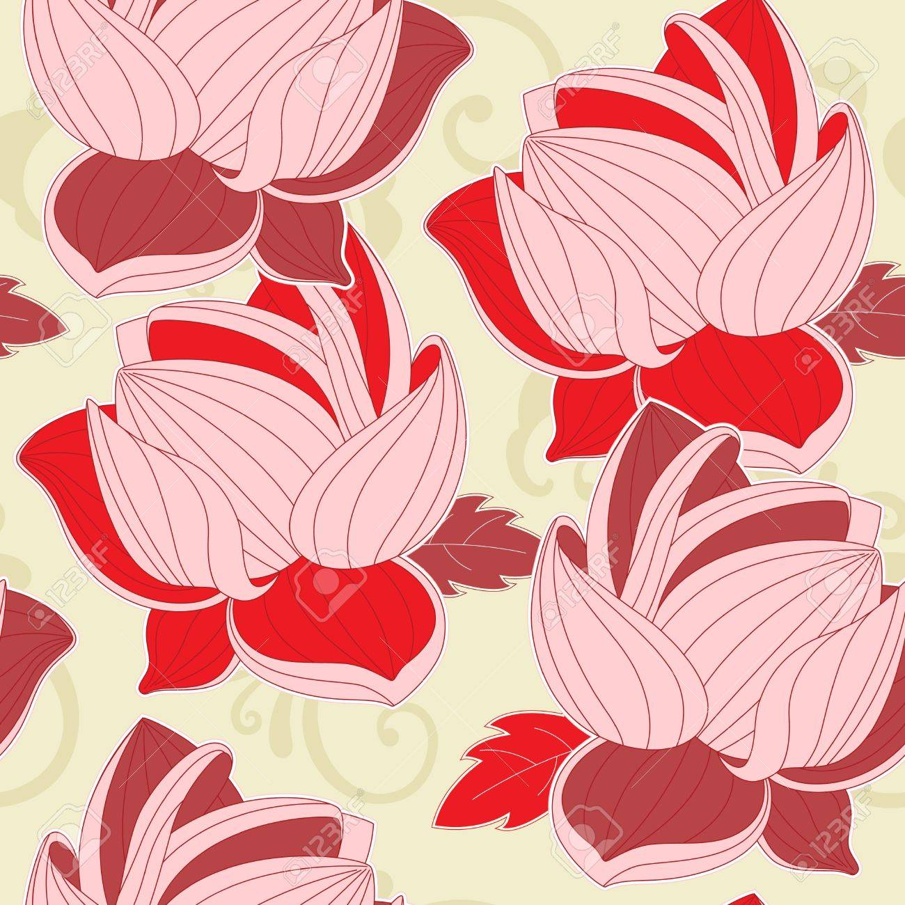 floral seamless pattern with  red lotus Stock Vector - 9247723