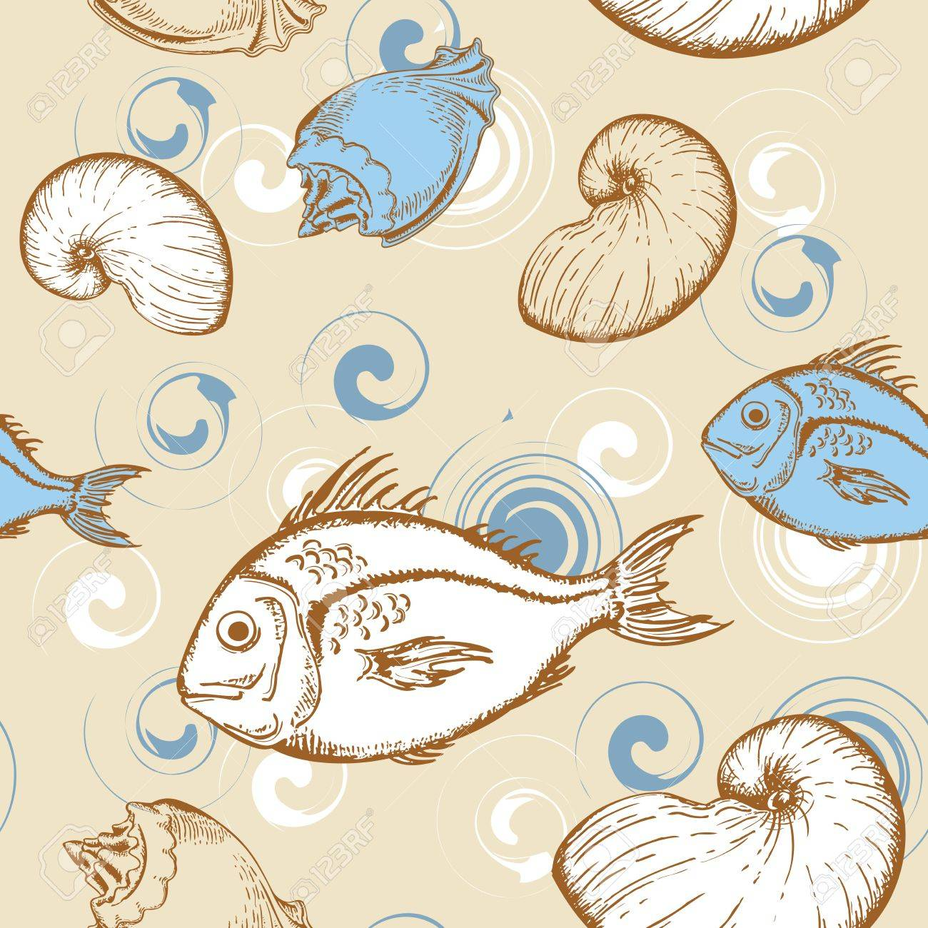 marine seamless pattern with fish and shells Stock Vector - 12741408