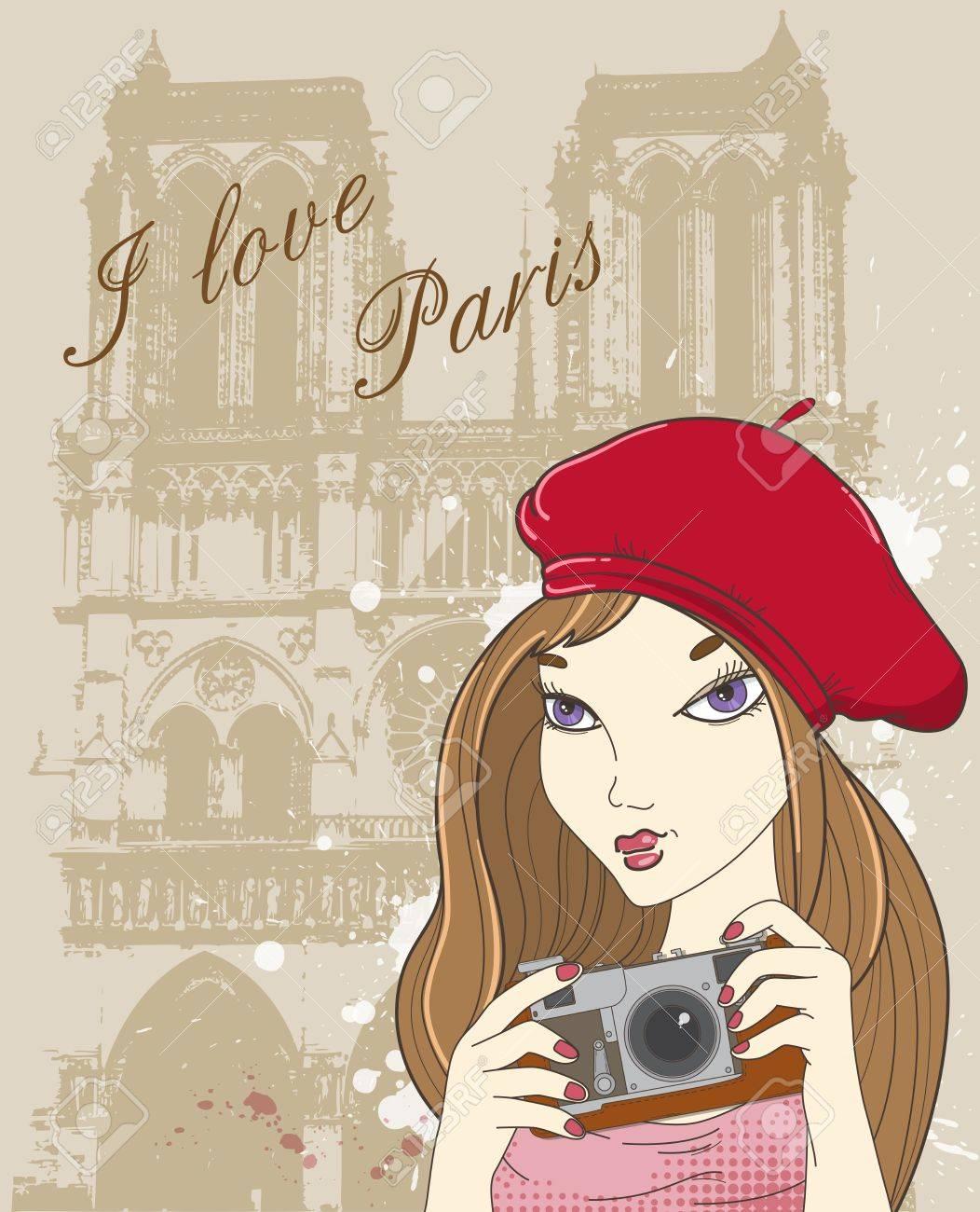 パリでの女の子の写真とイラストの背景 ロイヤリティフリークリップ