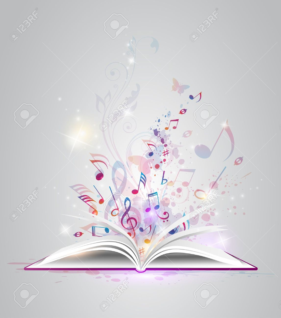 Vector abstract background with open book and notes Stock Vector - 19981546