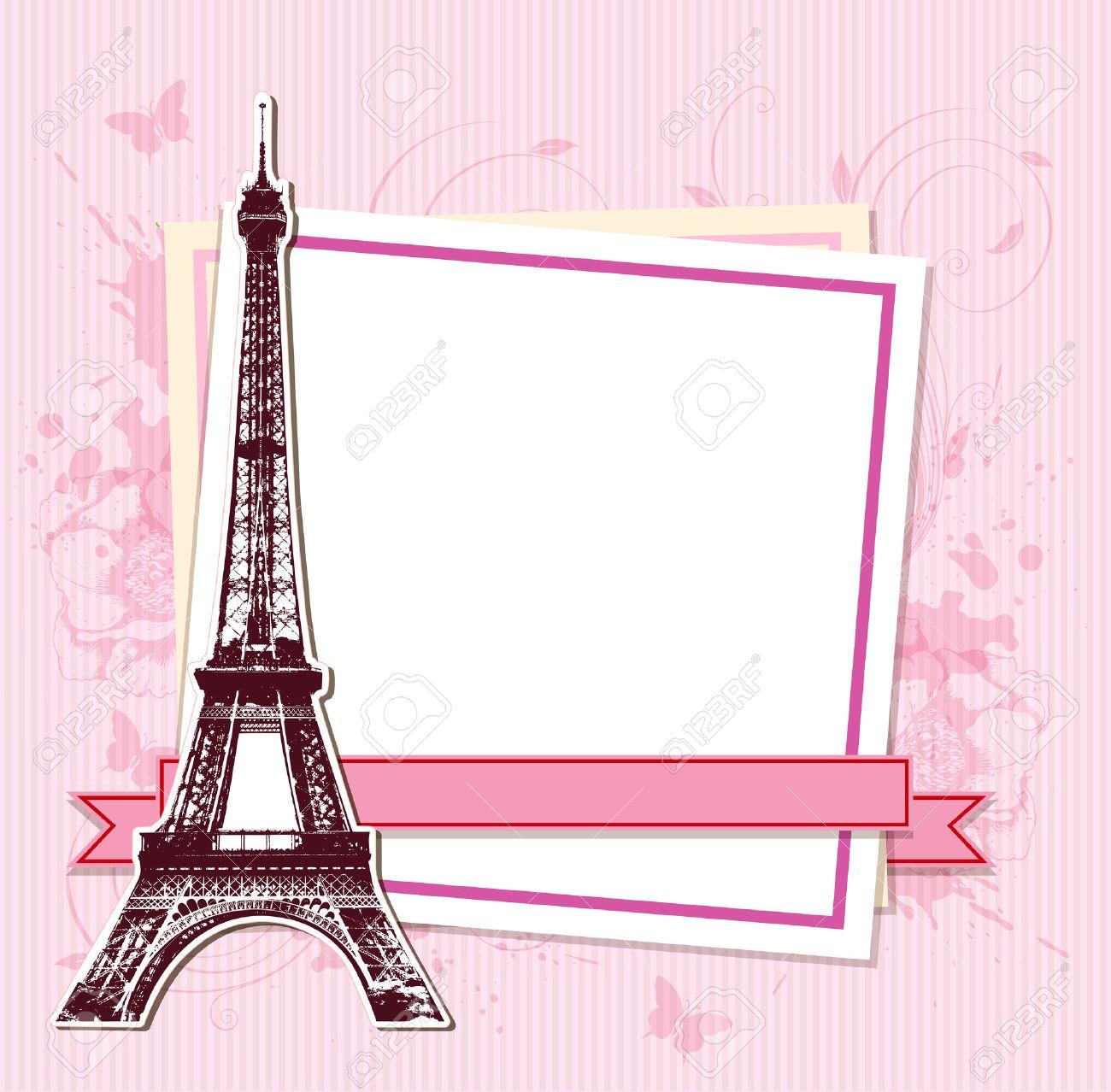 Marco Blanco Con París Y La Torre Eiffel En Un Fondo De Color Rosa ...