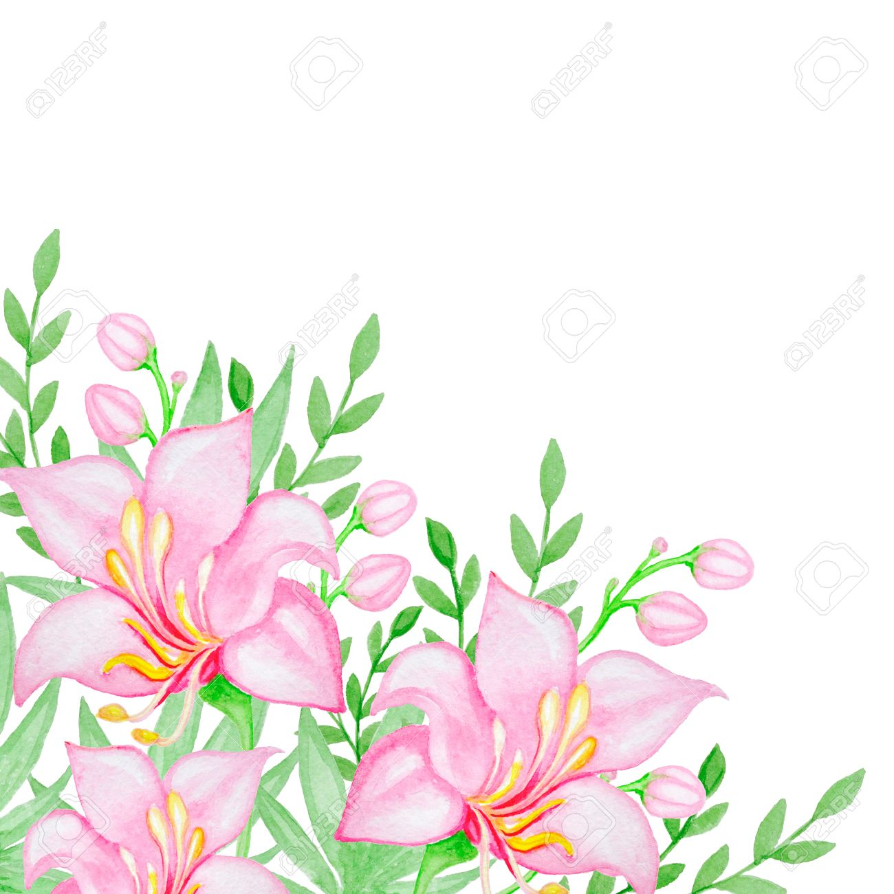 Watercolor background with pink tropical flowers and green leaves stock photo watercolor background with pink tropical flowers and green leaves mightylinksfo Images