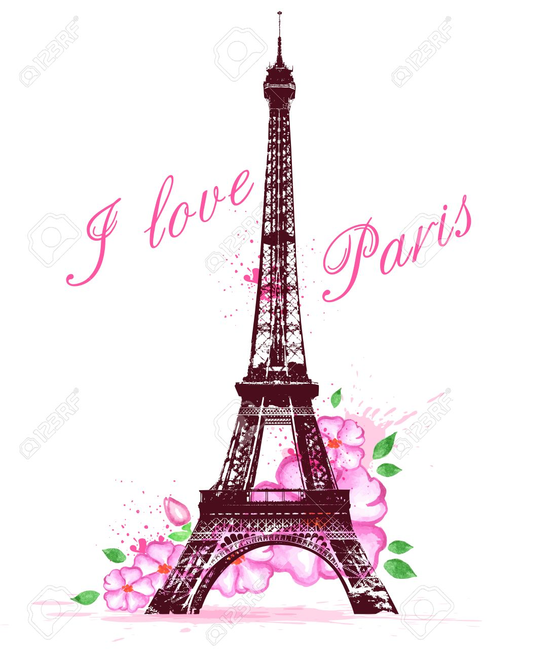 Romantic Background With Pink Watercolor Flowers And Eiffel Tower Stock Vector