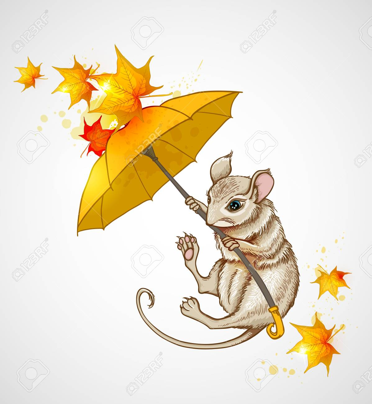 Autumn background with mouse flying under the umbrella - 47073748