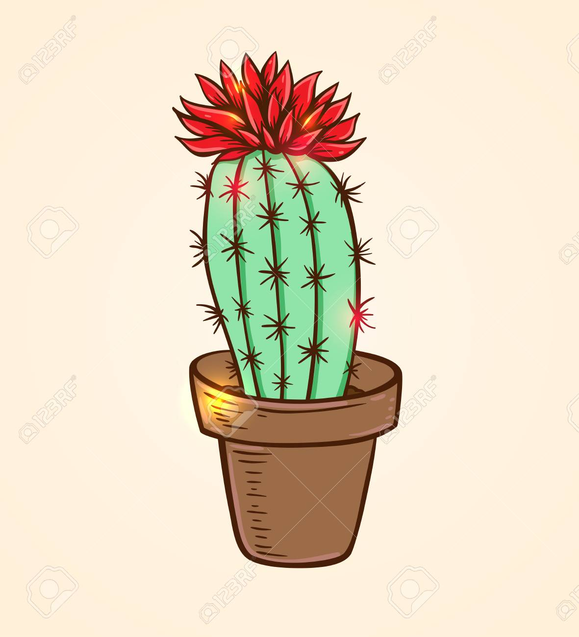 Blooming red cactus in a flowerpot hand drawn vector illustration stock vector 75203668