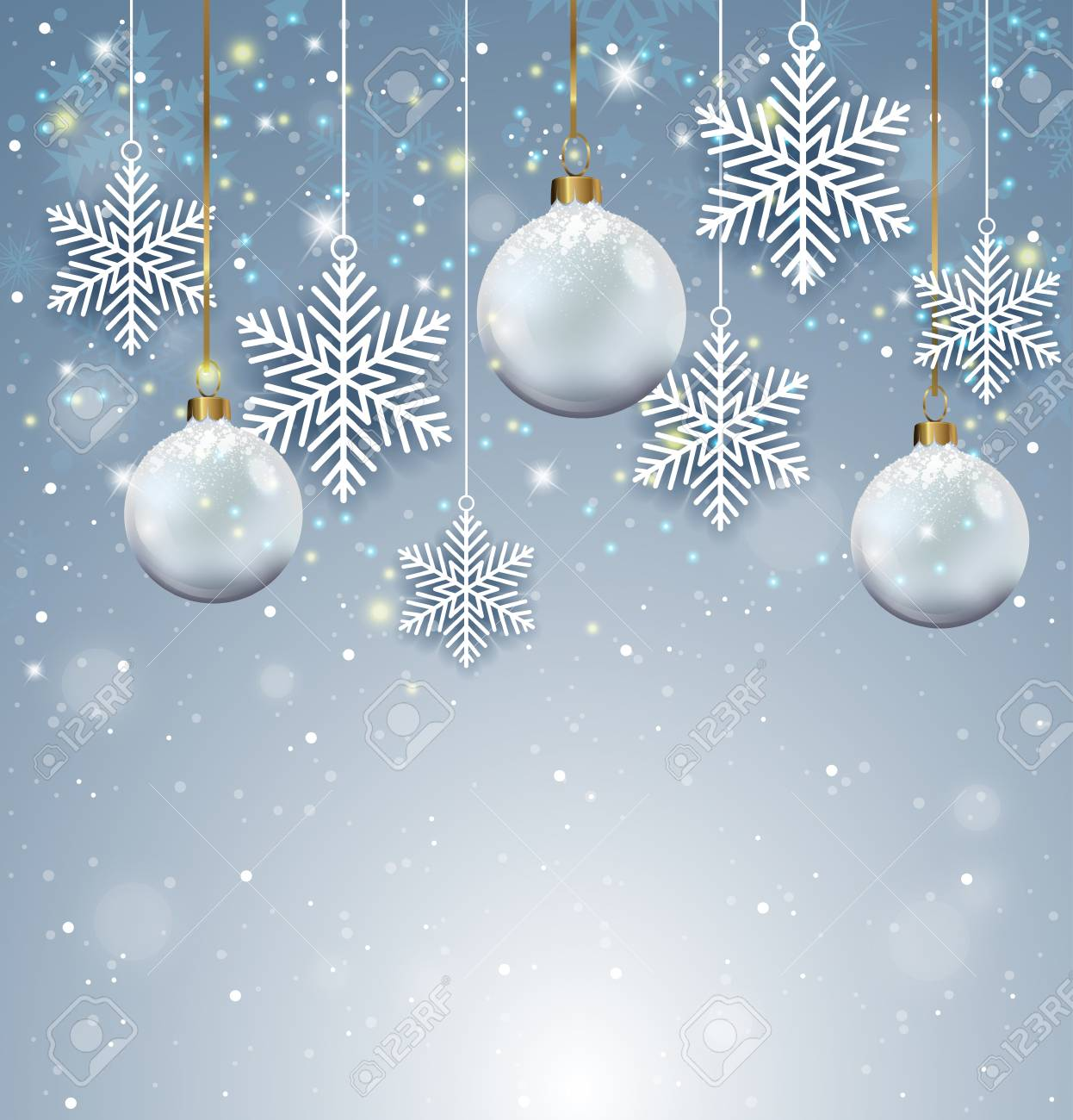 White Christmas Background.Holiday Background With White Christmas Decorations And Paper