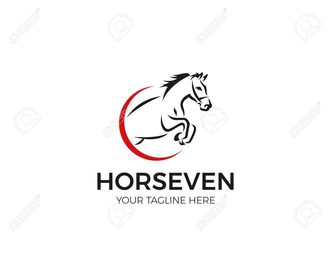 Jumping Horse Logo Template Line Animal Vector Design Pet Circular Royalty Free Cliparts Vectors And Stock Illustration Image 89978365
