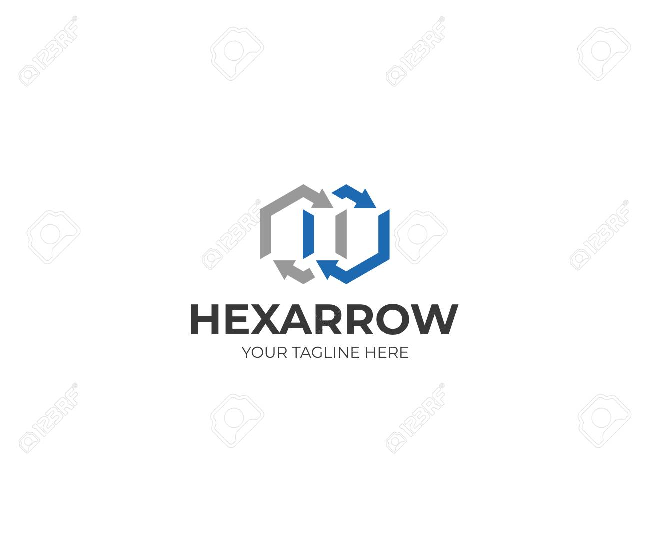 hexagon and arrow signage template royalty free cliparts vectors