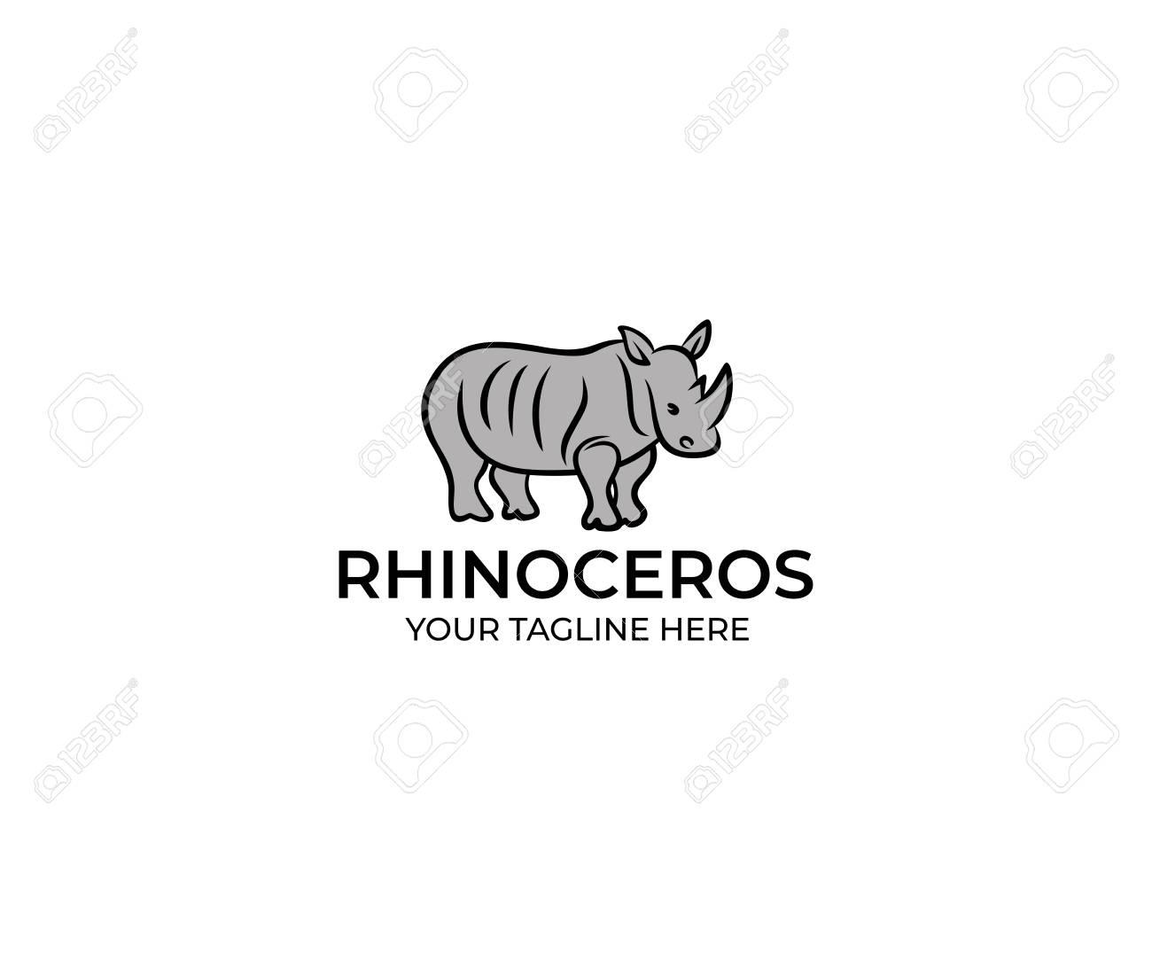 rhinoceros linear logo template rhino vector design animal