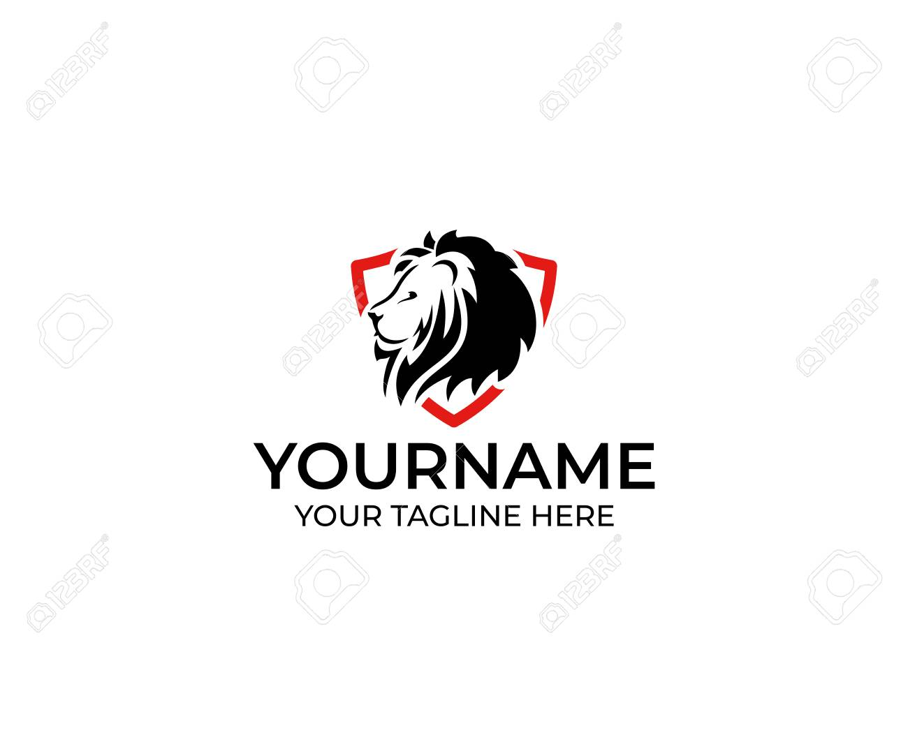 Lion In The Shield Logo Template. Animal Vector Design. Predator ...