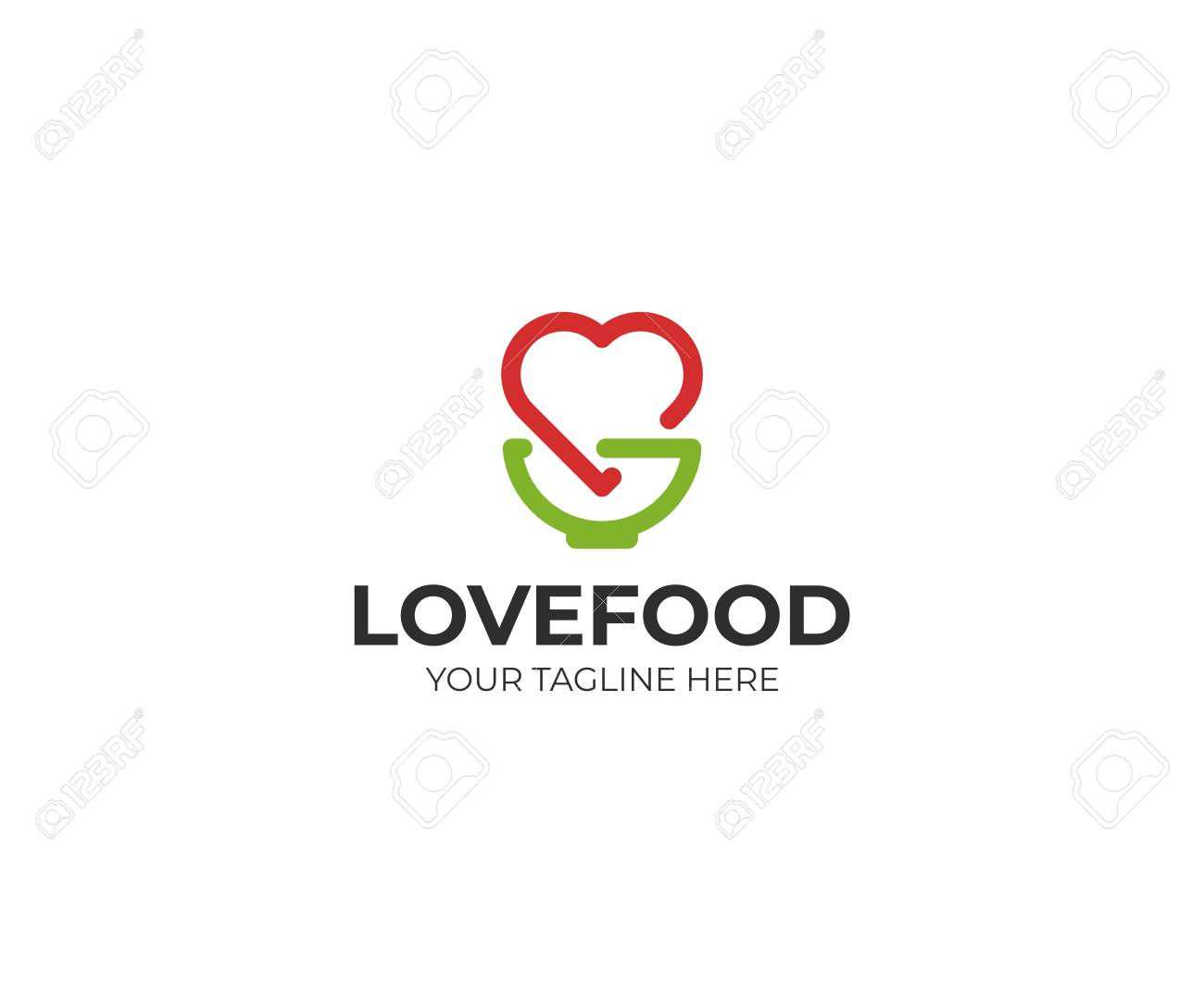 heart and bowl template kitchenware and love symbol vector design