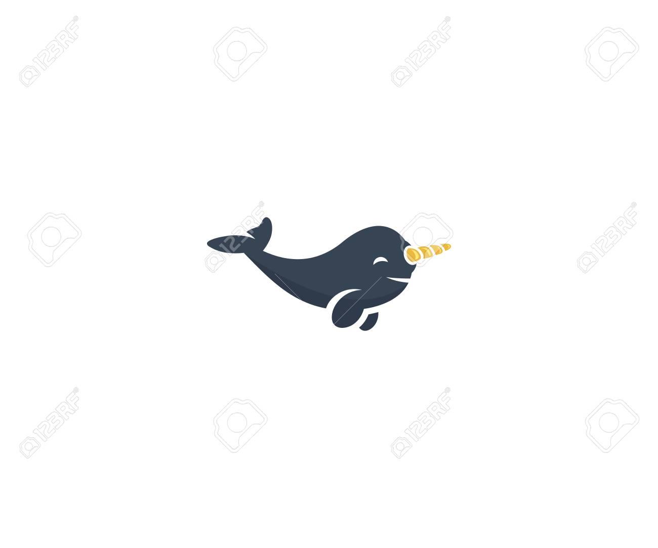 Narwhal Logo Template. Sea Life Animal Vector Design. Cute Cartoon Narwhal  Illustration Stock Vector