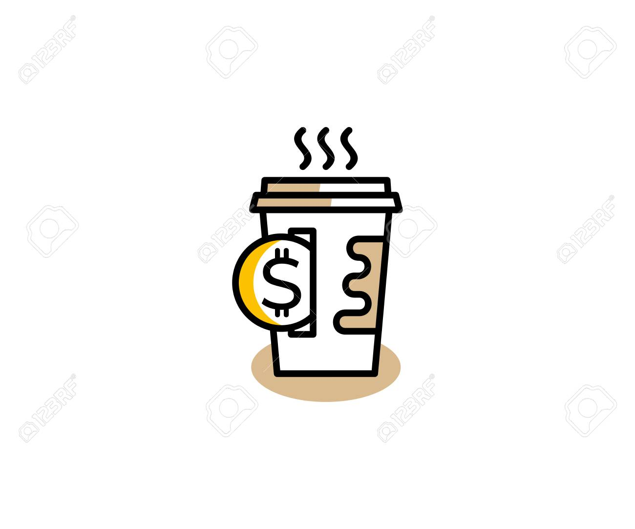 paper coffee cup and coin icon template concept buying coffee