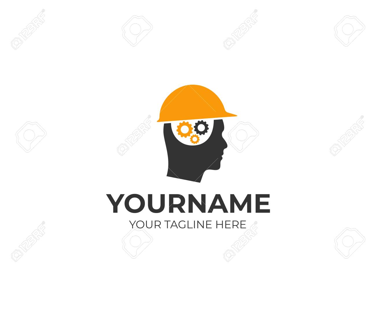 Builder Man In A Helmet And A Brain Of Gears Logo Template Man