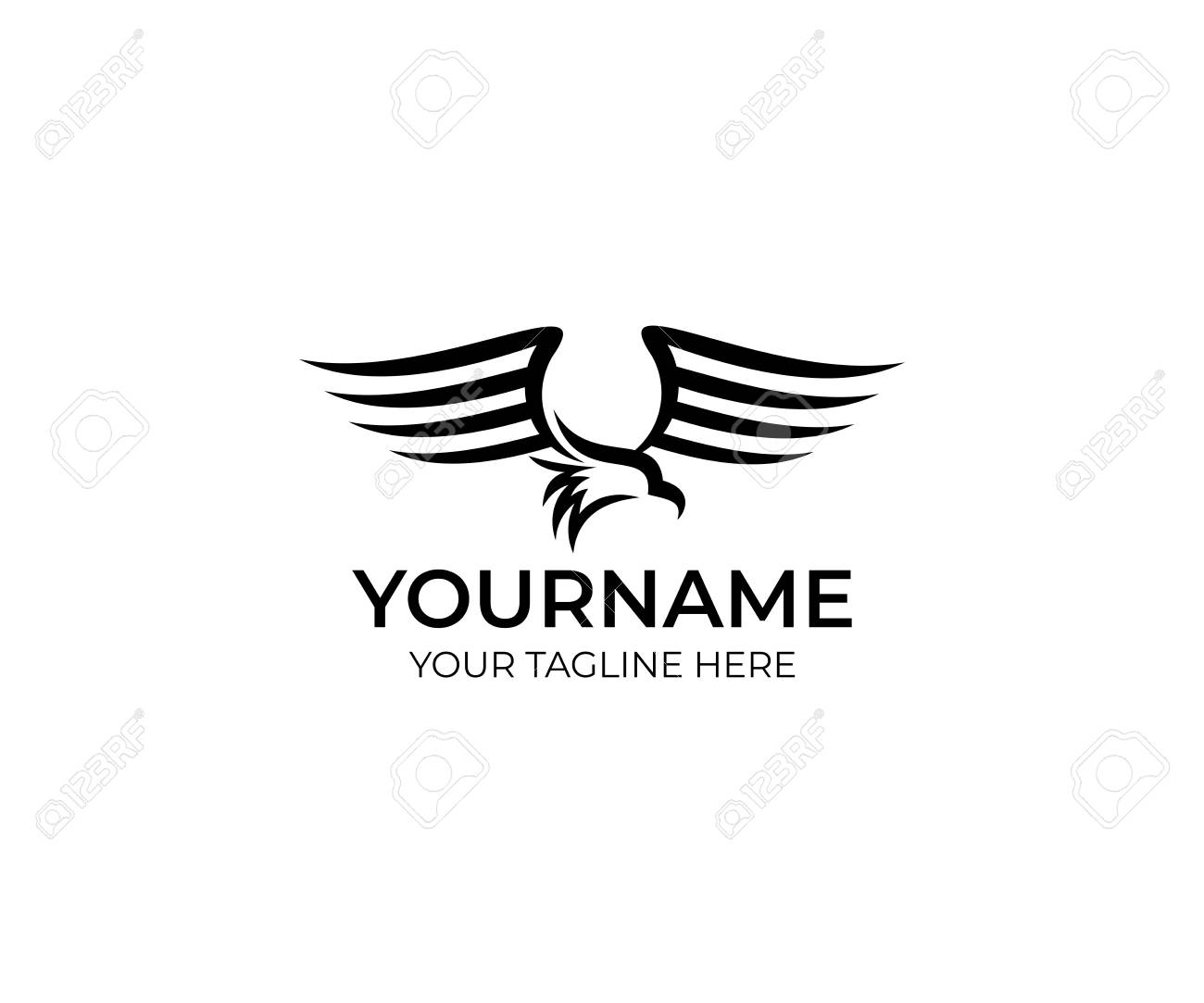 Eagle Bird Logo Template Bird Of Prey Flutters And Waves Its Royalty Free Cliparts Vectors And Stock Illustration Image 95887793