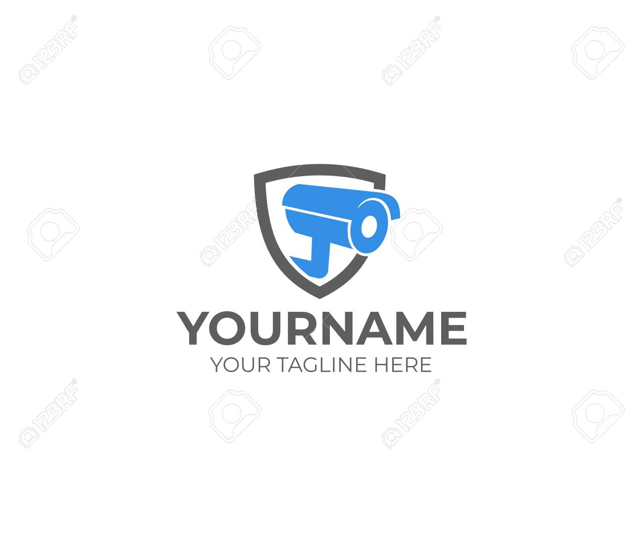 Web Camera In The Shield Logo Template. CCTV Camera Vector Design ...