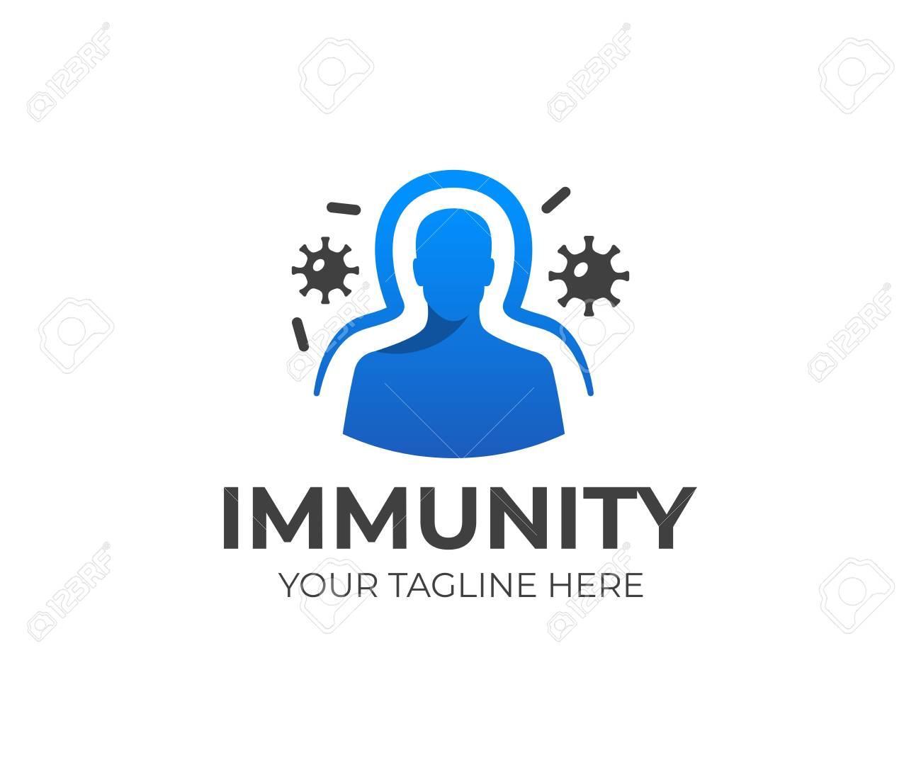 Human immune system vector design with virus and bacteria illustration. - 96450468