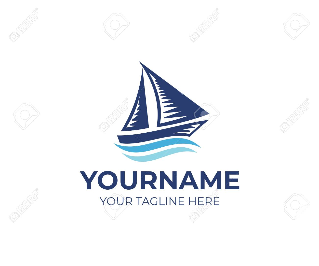 sailboat on waves logo template ship and cruise travel design