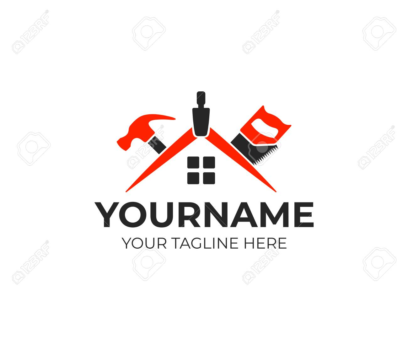 Roof Of House From Geometry Compass Saw And Hammer Logo Template Royalty Free Cliparts Vectors And Stock Illustration Image 102497664