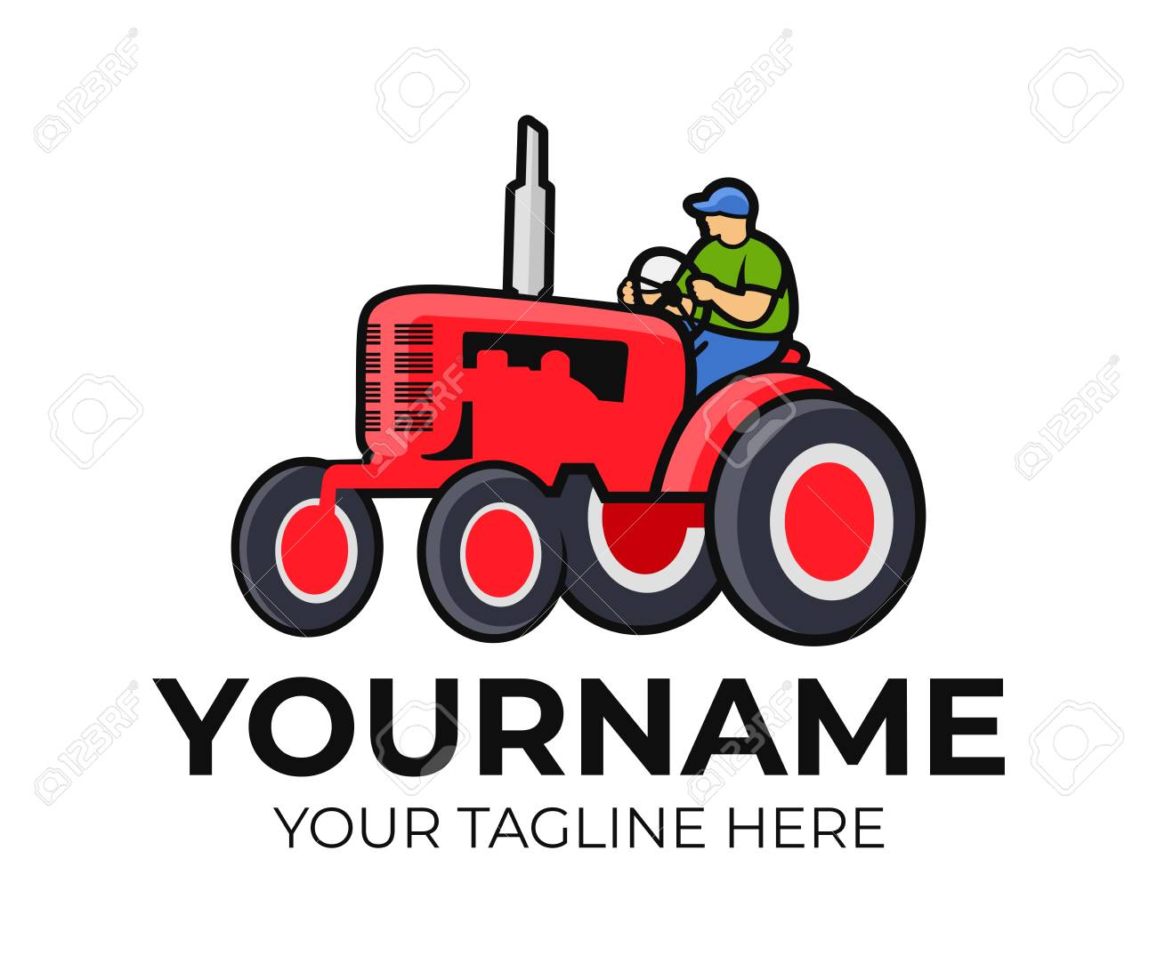 tractor tractor driver or farmer logo template agriculture
