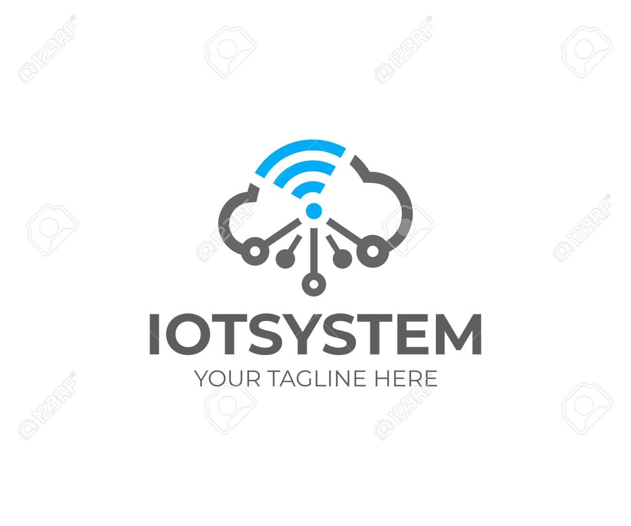 Internet of things (IOT), logo template. Network cloud and wi-fi signal, vector design. Cloud technology, logotype - 103742047