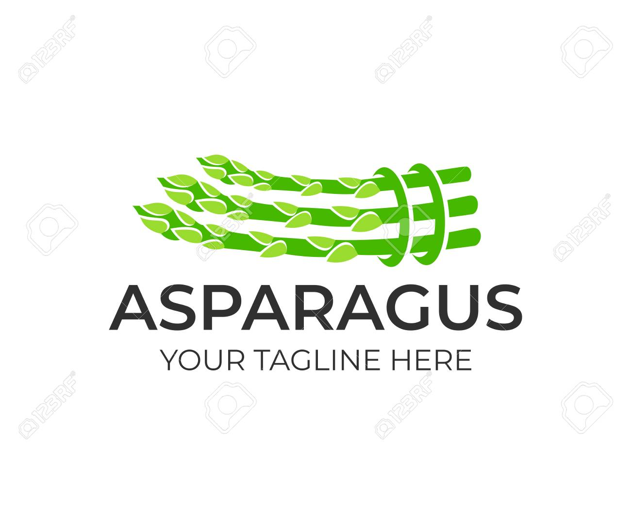 Asparagus plant, tied in bundle, logo design. Natural and organic food, agriculture and nature, vector design and illustration - 105836403
