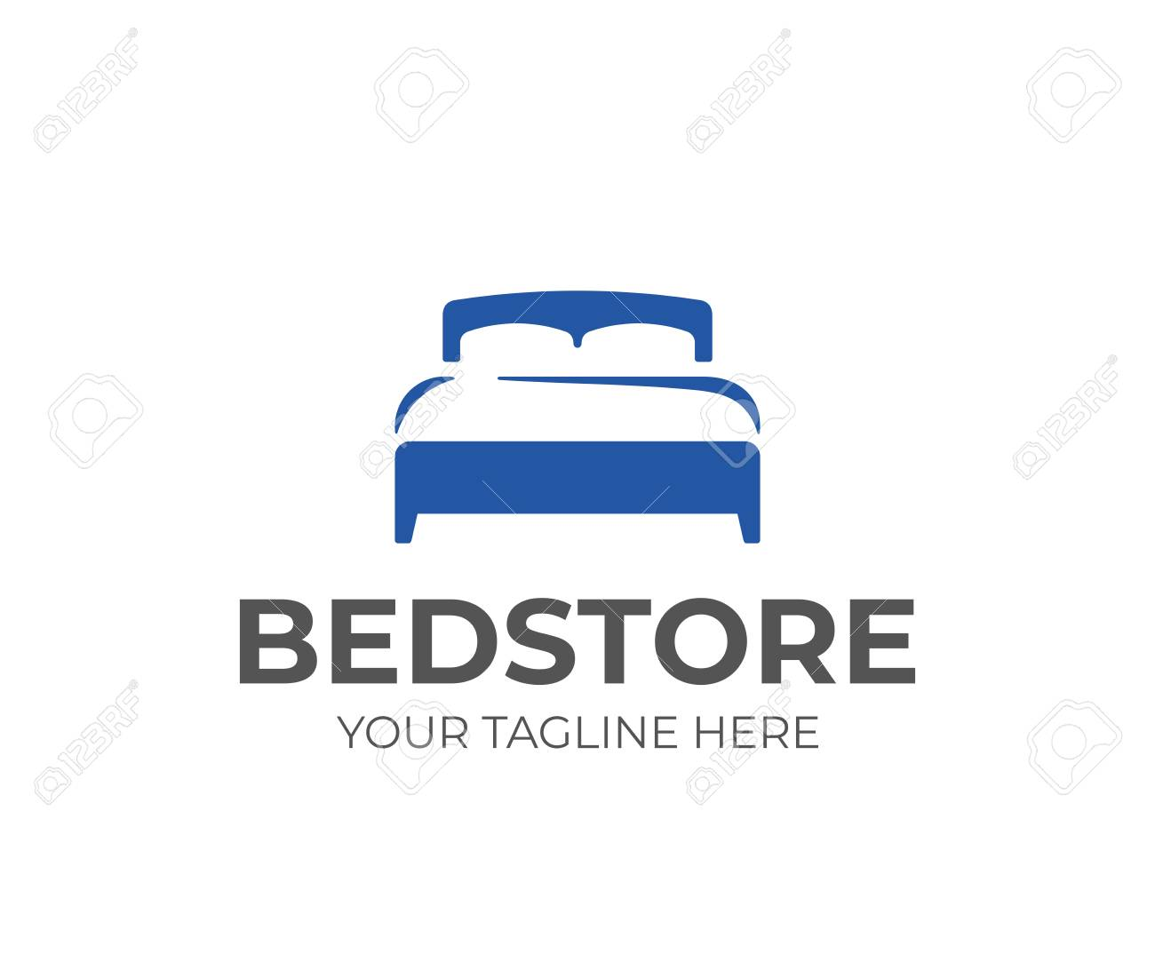Double Bed With Pillow And Duvet Logo Design Bedroom Furniture Royalty Free Cliparts Vectors And Stock Illustration Image 110278078