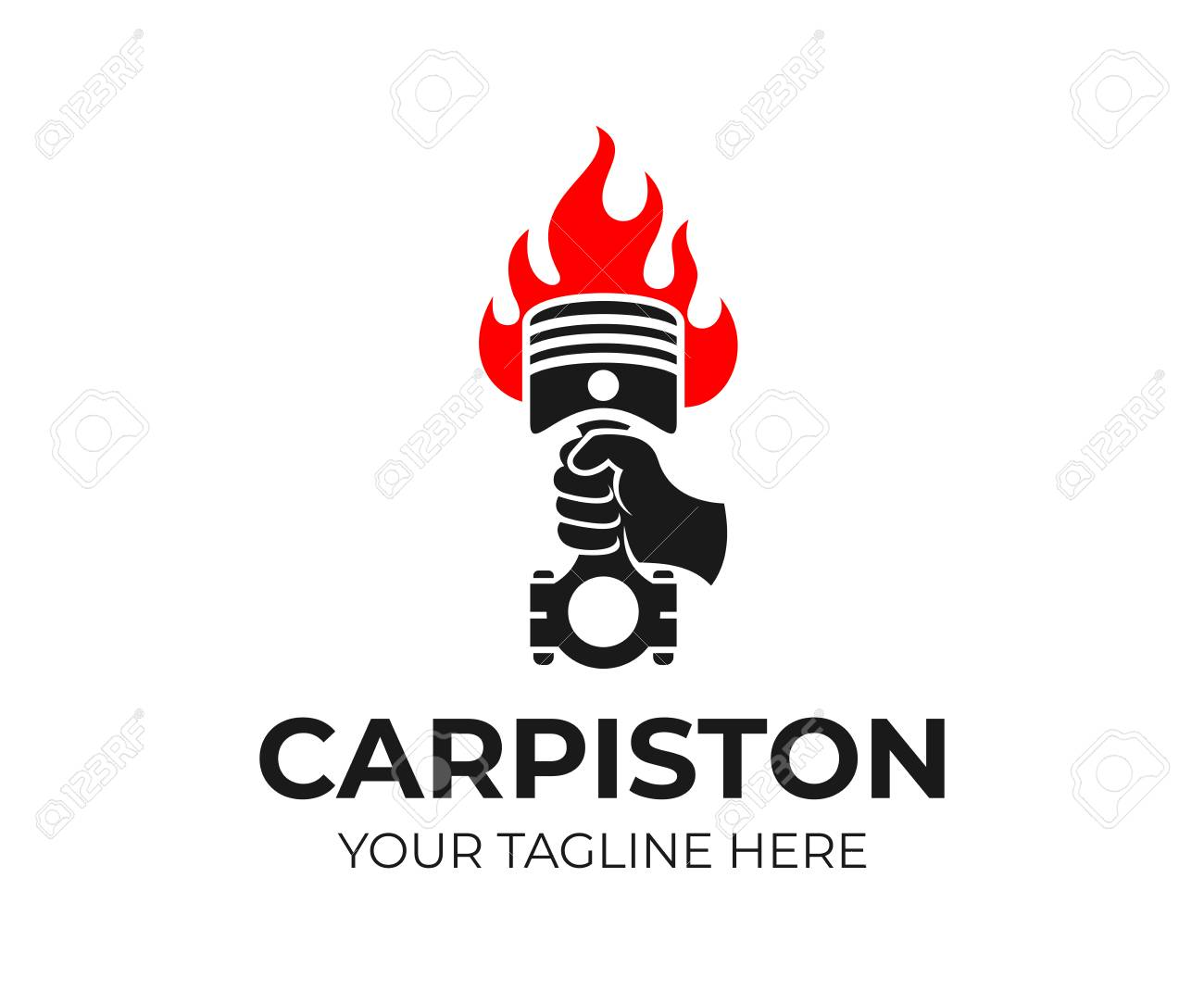 Hand Holding A Car With Fire Logo Design Car Repair Shop Auto Royalty Free Cliparts Vectors And Stock Illustration Image 111003938